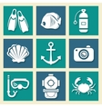 Sea symbols icons et vector image