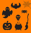 set of halloween element vector image