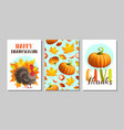 set thanksgiving greeting card poster banner vector image