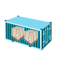 Shipping Boxes with Steel Strapping in Container vector image vector image