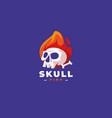 skull logo skeleton head with fire logo template vector image