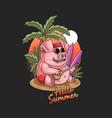 summer pig holiday at tropical beach vector image vector image