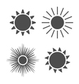 Sun icons set Gray signs isolated white vector image