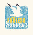 travel banner with seagull endless summer vector image vector image