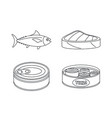 tuna fish can steak icons set outline style vector image vector image