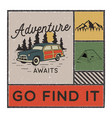 vintage hand drawn adventure poster with mountains vector image vector image
