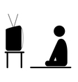 Watch TV program man pictogram flat icon isolated vector image vector image