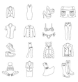 Woman clothes icons set outline style vector image vector image