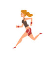 young woman running in sportswear active healthy vector image
