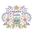 happy easter card floral design with eggs vector image