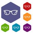 eyeglasses icons set vector image