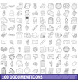 100 document icons set outline style vector image vector image