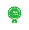 100 percent vegan green emblem design element vector image vector image
