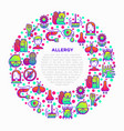allergy concept in circle with thin line icons vector image vector image