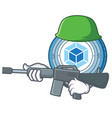 army webpack coin character cartoon vector image vector image