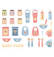 baby food icon set vector image vector image