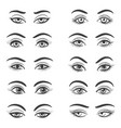 beautiful female eyes set vector image vector image