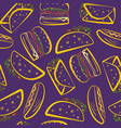 bright purple pattern with color outline fast food vector image vector image