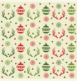 christmas seamless pattern with balls reindeer vector image vector image
