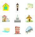 city center icons set cartoon style vector image vector image