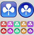 Clover icon sign A set of twelve vintage buttons vector image vector image
