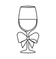cup glass champagne with bow ribbon isolated icon vector image vector image