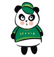 cute black and white panda dressed in green vector image