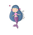 cute cartoon little mermaid siren sea theme vector image vector image