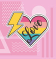 cute patches love heart thunderbolt badge fashion vector image vector image