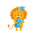 cute sleepy little lion in a night cap with pillow vector image vector image