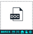 doc file icon flat vector image vector image