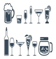 Drink alcohol beverage icons set vector image vector image