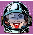 emoticon tongue Emoji face woman astronaut retro vector image vector image