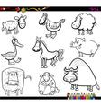 farm animals set coloring book vector image vector image