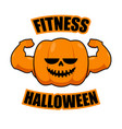 fitness halloween pumpkin with muscles vegetable vector image vector image