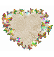 floral heart with butterfly vector image vector image