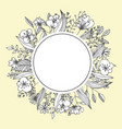 flower frame greeting card template floristic vector image