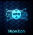 glowing neon vpn in circle with microchip circuit vector image vector image
