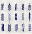grain ears collection on notebook page vector image vector image