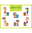 Green kids segregating trash recycling concept vector image vector image