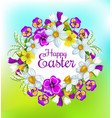 happy easter spring flowers floral wreath vector image vector image