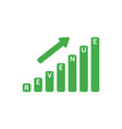 icon concept of revenue sales bar graph moving up vector image vector image