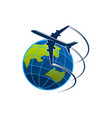 icon plane and world globe vector image