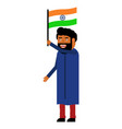 indian man carries the flag of india vector image vector image