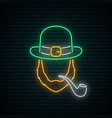irishman with smoking pipe neon sign vector image vector image