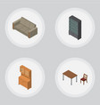 isometric furniture set of couch sideboard chair vector image vector image