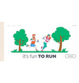 jogging and sport healthy lifestyle landing page vector image vector image
