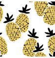 kids hand drawn seamless pattern with pineapples vector image