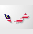 Malaysia map with shadow effect vector image