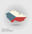 map and flag of czech republic vector image vector image